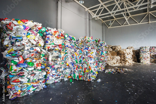 Photo Plastic bales of rubbish at the waste treatment processing plant