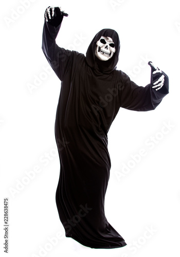 The grim reaper or death halloween costume isolated on a white background Wallpaper Mural