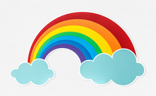 Colorful Rainbow With Clouds Icon
