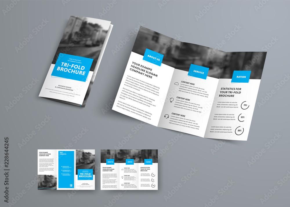 Fototapeta Tri-fold vector brochure template with blue rectangular elements for headers.