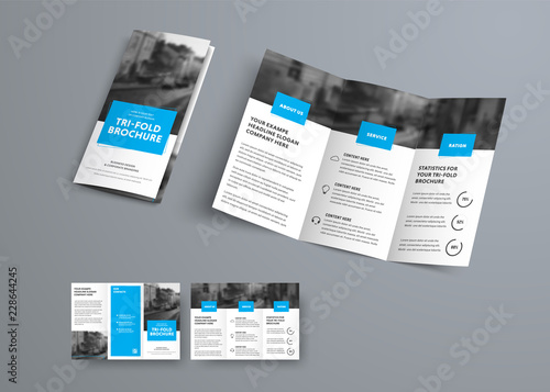 Fotografía  Tri-fold vector brochure template with blue rectangular elements for headers