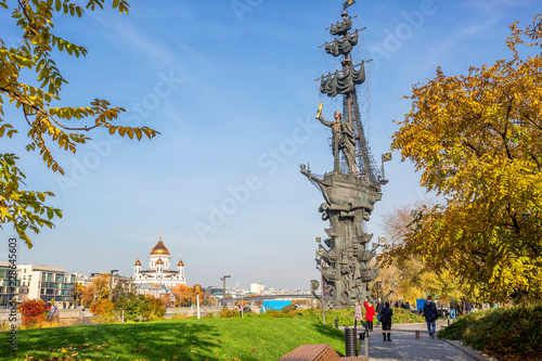 Moscow, Russia, embankment. The Monument To Peter I.  Monument to Peter The great is located in the capital of Russia, on the Moscow river.