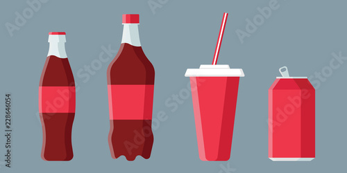 Set of soda drinks in flat style with long shadow isolated on grey background Wallpaper Mural