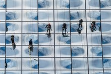 Facade Climbers Cleaning The Windows Of The Glass Facade, Elbe Philharmonic Hall, Hamburg, Germany, Europe
