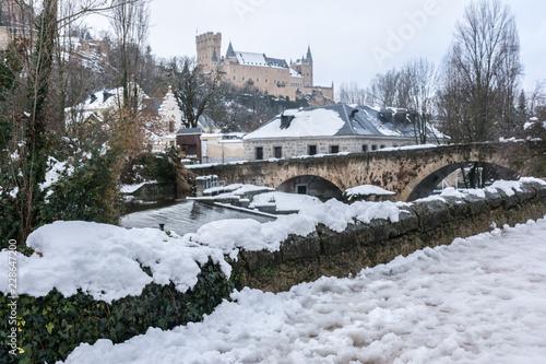 Fotografie, Obraz  View of the Alcazar of Segovia in winter, a winter trip to spend Christmas in th