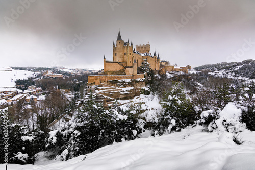 View of the Alcazar of Segovia in winter, a winter trip to spend Christmas in the interior of Spain