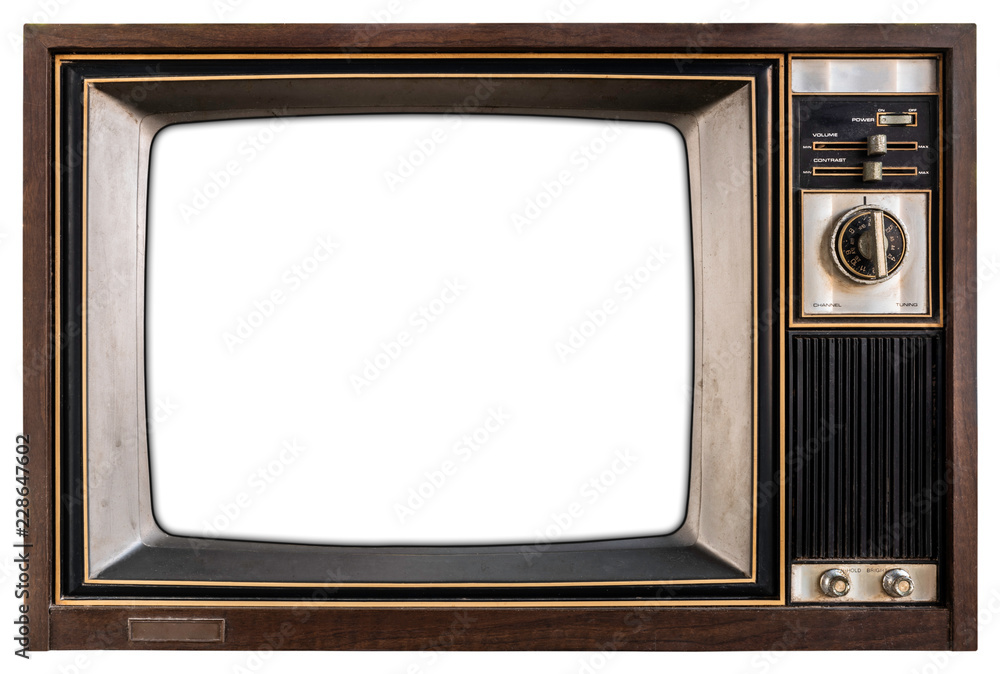 Fototapeta Old TV with white screen.