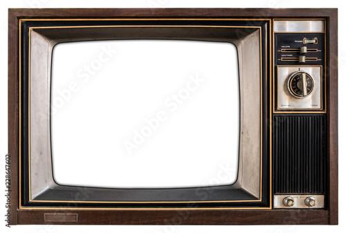 Obraz Old TV with white screen. - fototapety do salonu