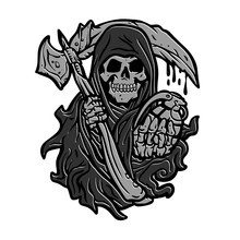 Skull Of Grim Reaper With The Sickle And The Grenade