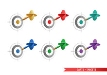 Set Of Colorful Darts And Targets For Your Creative Works. All Elements Isolated On White Background. Vector Illustration.