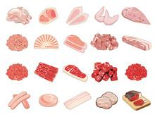 食材アイコン・イラスト【食肉】①(牛肉、豚肉、鶏肉、加工肉)