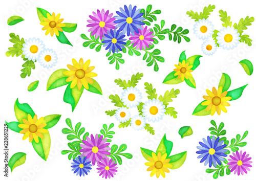 Fotografie, Obraz  水彩風の花のオブジェクト(ノースポール,アフリカンデージー,メランポジウム)