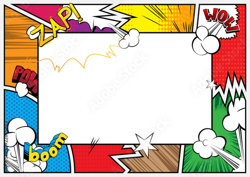 Fototapeta Pop Art background with place for text. Comic book frame. Cartoon retro vector illustration drawing for advertising. obraz