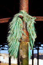 Frayed  Blue Green Rope And Fi...
