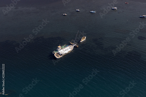 Fotobehang Volle maan Fisher boat from top view over the sea.