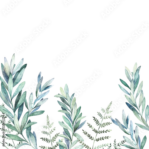 Foto  Watercolor floral card with eucalyptus branch and fern