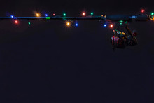New Year Fishing Concept. Holiday Garland With Tackles
