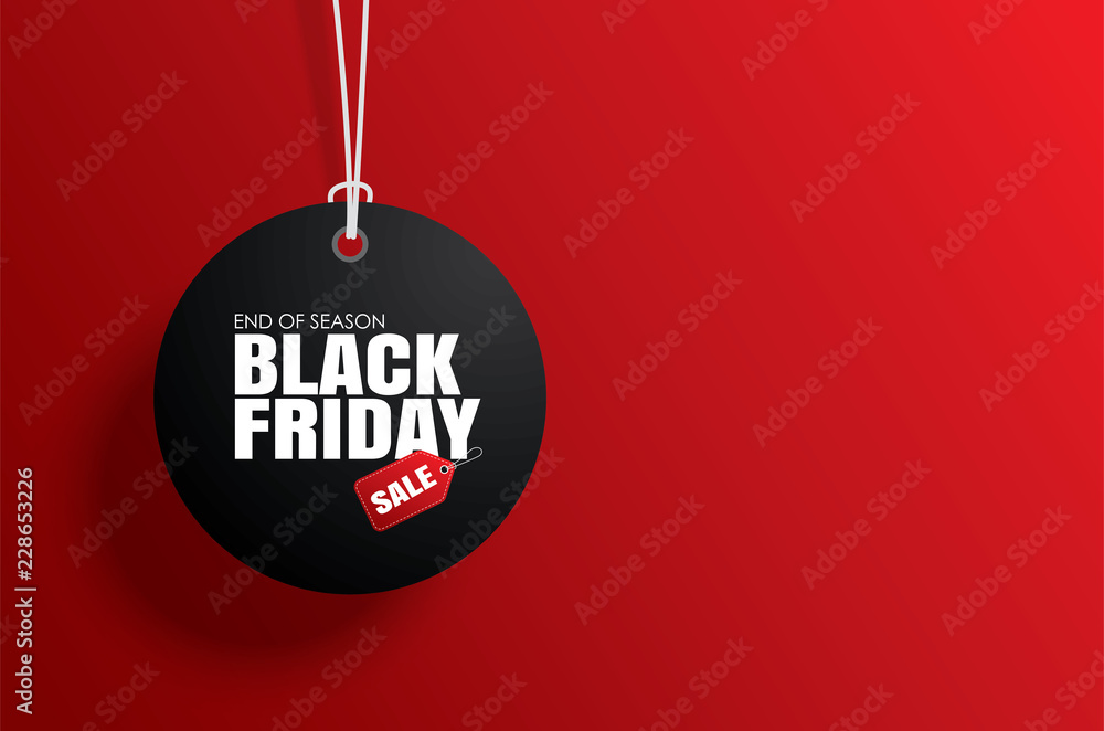 Fototapeta Black friday sale tag circle banner and the rope hanging on red background