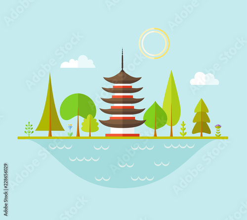 Fotobehang Lichtblauw Landscape with Japanese pagoda. Traditional oriental house in the forest. Scene with pagola trees and lake. Vector illustration in flat style.