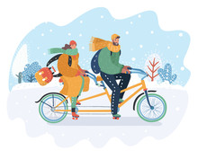 Couple Riding On Tandem Bike At Snowy Landscape.