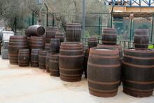 Many Wooden Barrels Big And Sm...