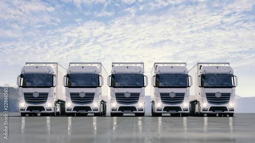 Fotografía  Eine Flotte von weißen LKW steht auf einer Straße