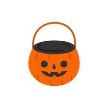 Cute Hand Drawn Halloween Pumpkin Bucket Vector Illustration. Orange Pumpkin Candy Bucket For Trick Or Treating.