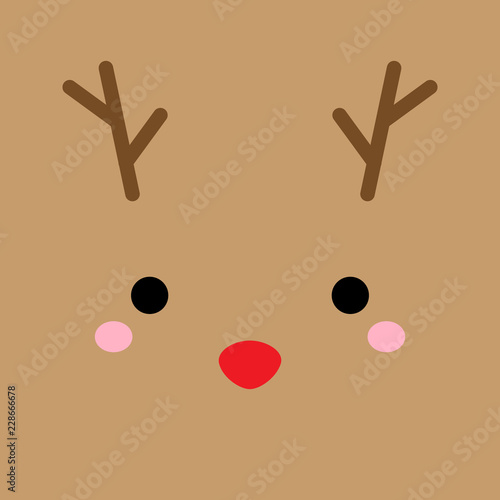 Cute simple reindeer vector illustration. Christmas reindeer