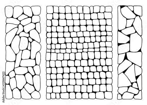Obraz Texture of stones. wall from bricks set vector. paved stone walkways - fototapety do salonu