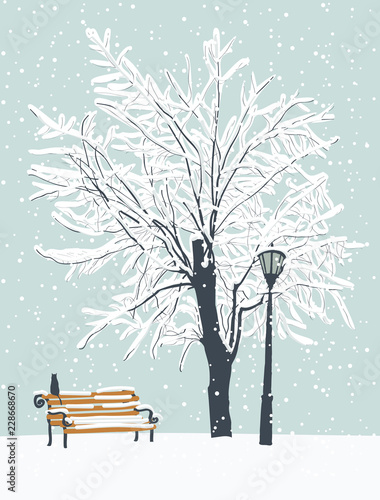 Fotobehang Lichtblauw Vector winter landscape with a lonely cat on a bench in the Park under a snow-covered tree. Snowy winter illustration