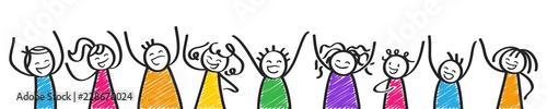 Valokuva Glückliche bunte Strichmännchen jubeln, Reihe, Banner, Kinder, Männer und Frauen