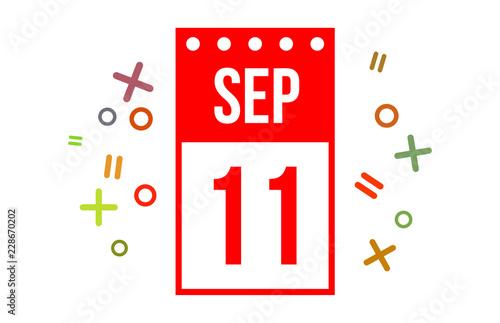 Fotografia  11 September Red calendar number