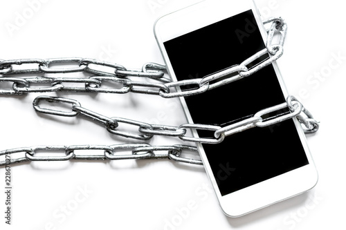 Photo concept smartphone protection on white background