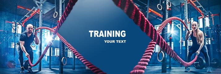 Kolaž o muškarcu i ženi s vježbanjem bojnih užadi u teretani. CrossFit koncept. teretana, sport, uže, trening, sportaš, vježba, koncept vježbi