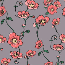 Anemone Or Windflower Poppies Flowers And Ivy Leaves. Floral Vector Seamless Pattern With Hand Drawn Elements.