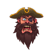 Head Of An Evil Pirate Captain.Vector Illustration, Eps 10.