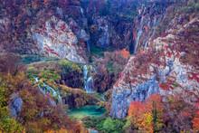 Waterfalls In Plitvice Lakes. ...