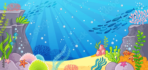 Stampa su Tela Sea bottom. Vector illustration with a background