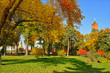 Picturesque multicolor autumn in Kremlin park. Moscow, Russia