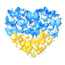 Vector Butterfly Heart Of Ukraine. Decorative Silhouette Isolated On Background