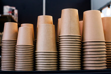 Stack Of Disposable Coffee Cup, Selective Focus