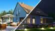 canvas print picture - Haus mit Garten tagsüber und nachts