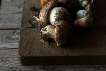 Heap Of Boletus Edulis Mushrooms On Board