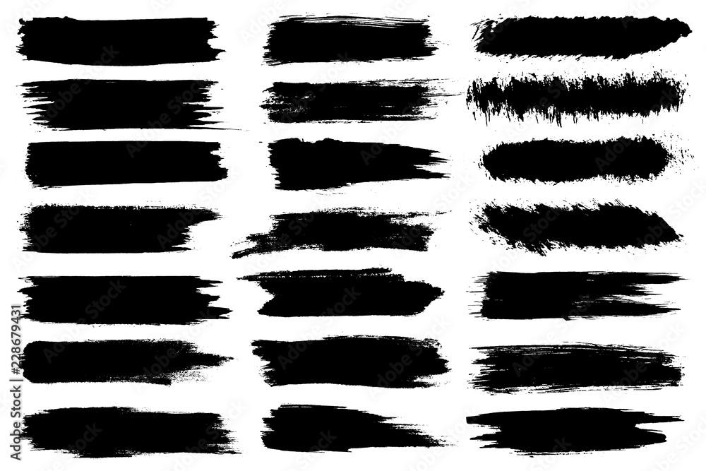 Fototapeta Set of different ink paint brush strokes isolated on white background. Grunge banner background. Vector illustration