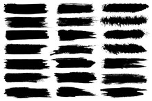 Set Of Different Ink Paint Brush Strokes Isolated On White Background. Grunge Banner Background. Vector Illustration