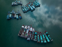 Indonesia, Bali, Aerial View Of Old Ships