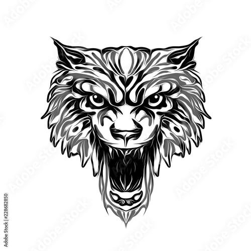 тату дикого волка