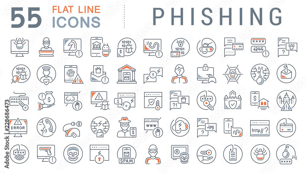 Fototapeta Set Vector Line Icons of Phishing.