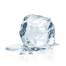 Melting Ice Cube Isolated On White Background Including Clipping Path