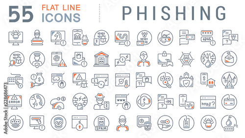 Obraz na płótnie Set Vector Line Icons of Phishing.